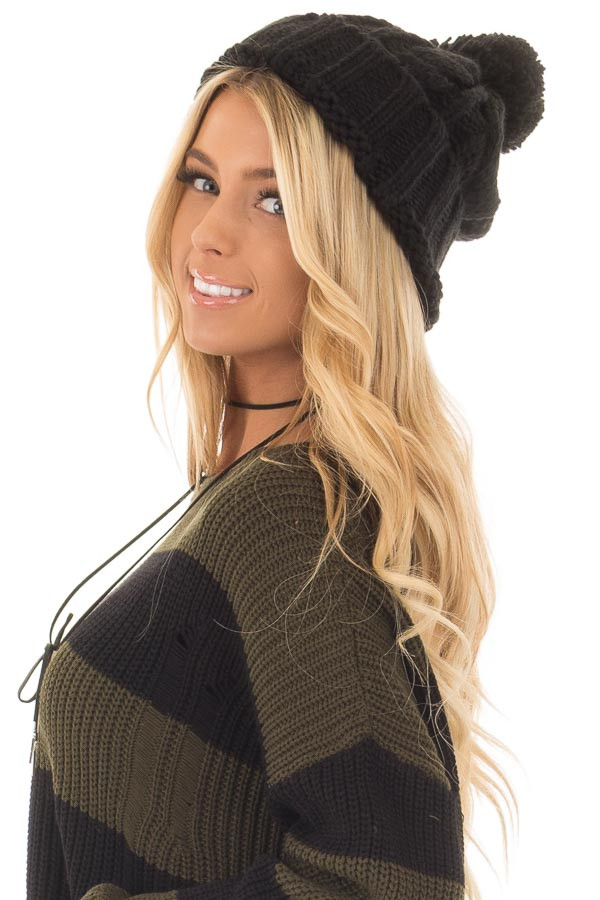 Black Pom Pom Cable Knit Beanie side