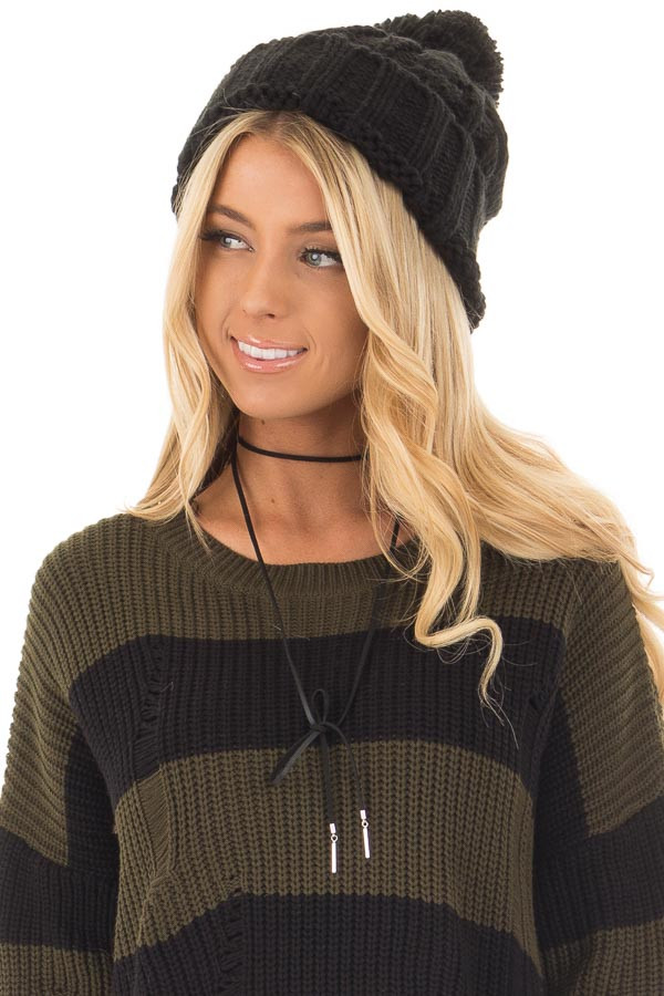 Black Pom Pom Cable Knit Beanie front