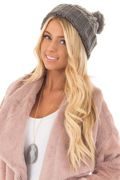 Charcoal Pom Pom Cable Knit Beanie front