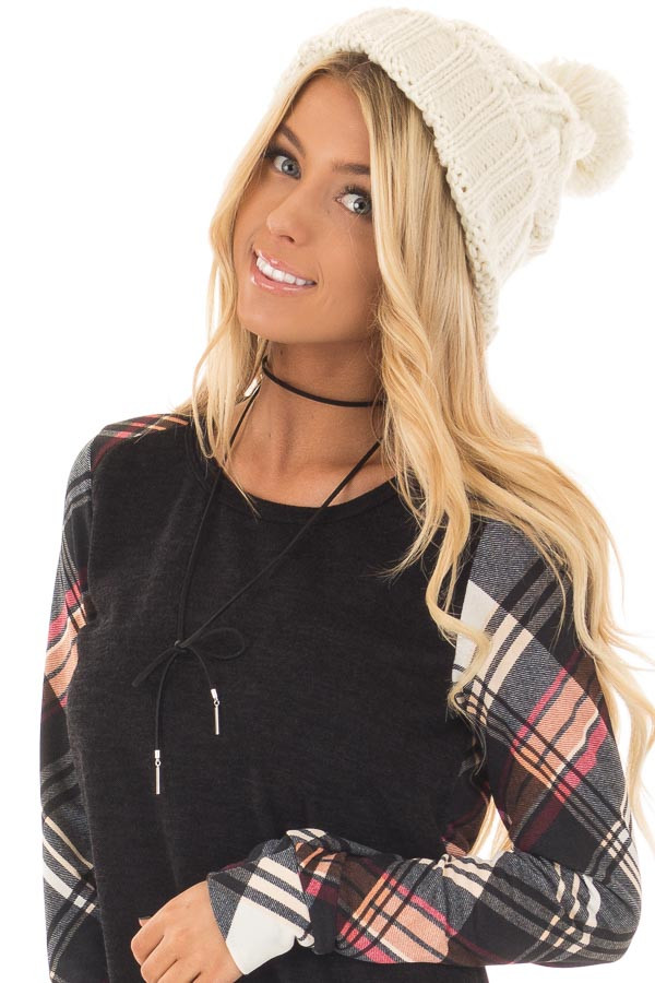 Ivory Pom Pom Cable Knit Beanie front