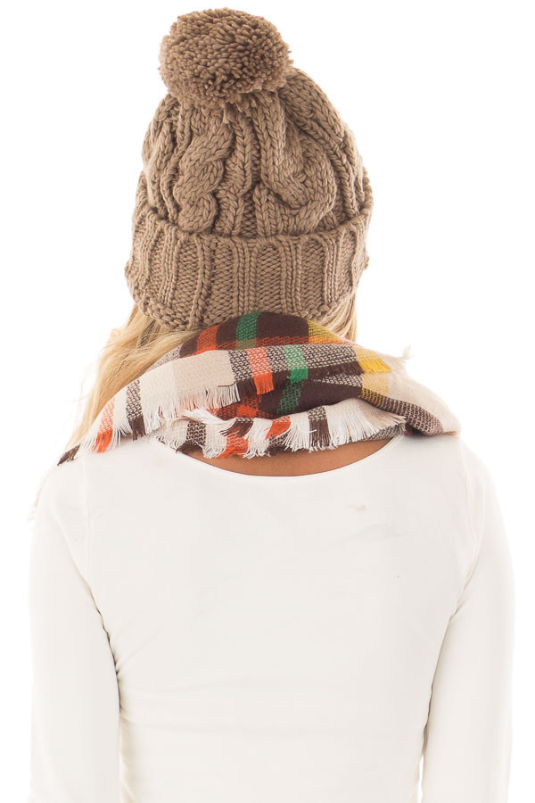 Cocoa Pom Pom Cable Knit Beanie back