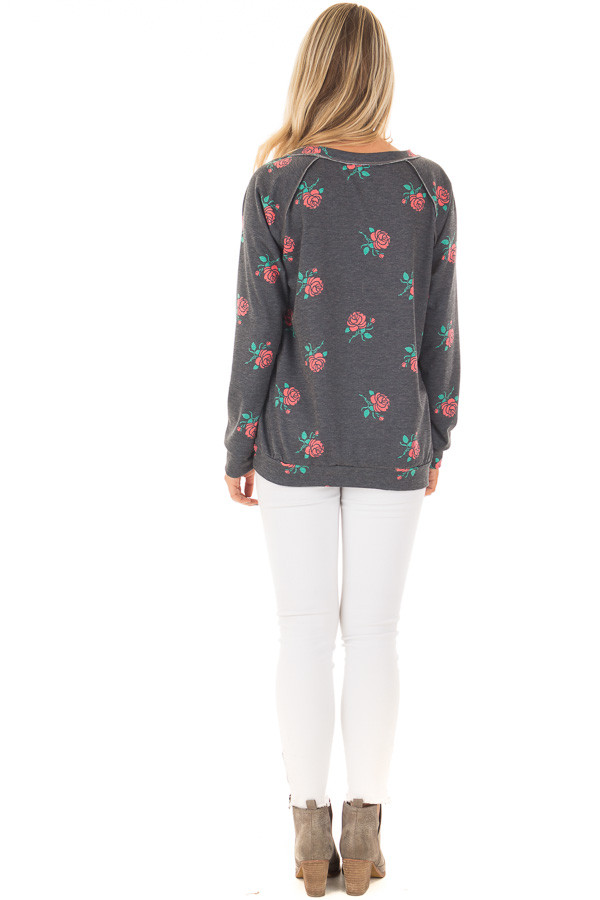 Charcoal Sweater with Rose Print and Front Pocket back full body