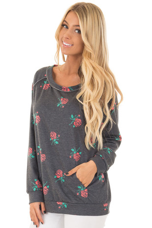 Charcoal Sweater with Rose Print and Front Pocket front closeup