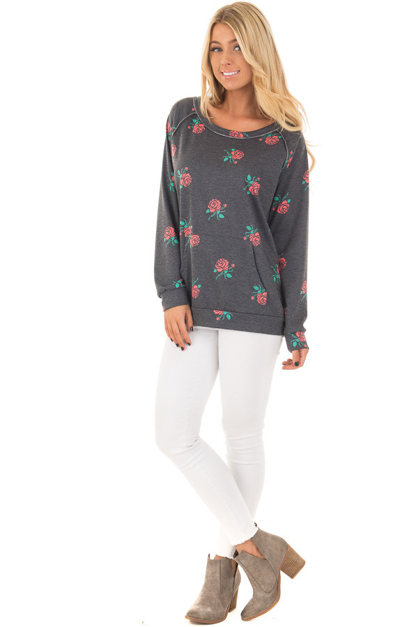Charcoal Sweater with Rose Print and Front Pocket front full body