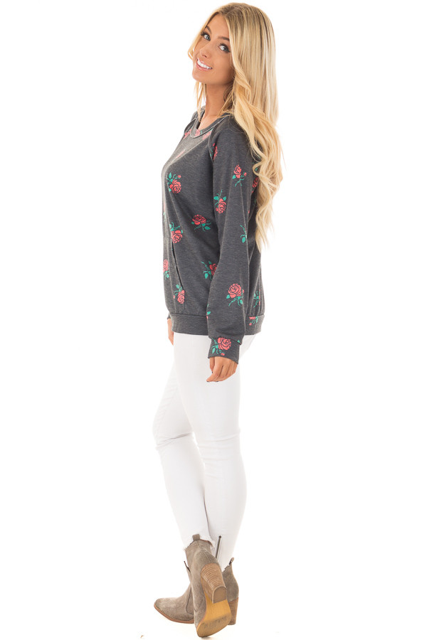 Charcoal Sweater with Rose Print and Front Pocket side full body