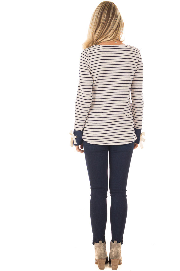 Navy and Oatmeal Striped Top with Tie Sleeve Detail back full body