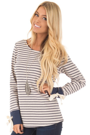 Navy and Oatmeal Striped Top with Tie Sleeve Detail front closeup