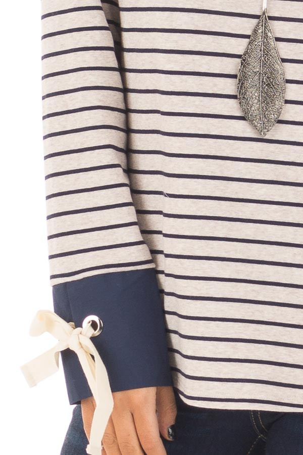 Navy and Oatmeal Striped Top with Tie Sleeve Detail front detail
