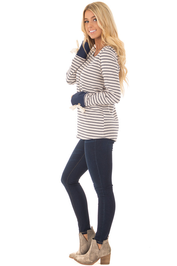 Navy and Oatmeal Striped Top with Tie Sleeve Detail front full body