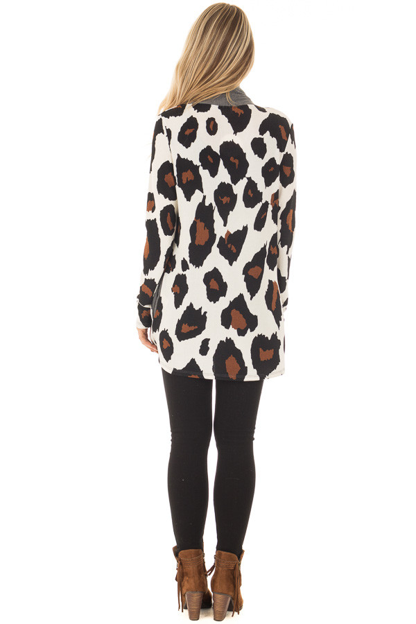 Cream Leopard Print Cardigan with Charcoal Edges back full body