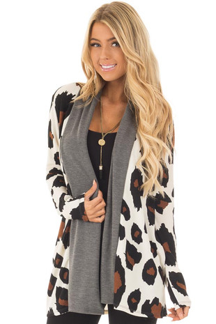 Cream Leopard Print Cardigan with Charcoal Edges front close up