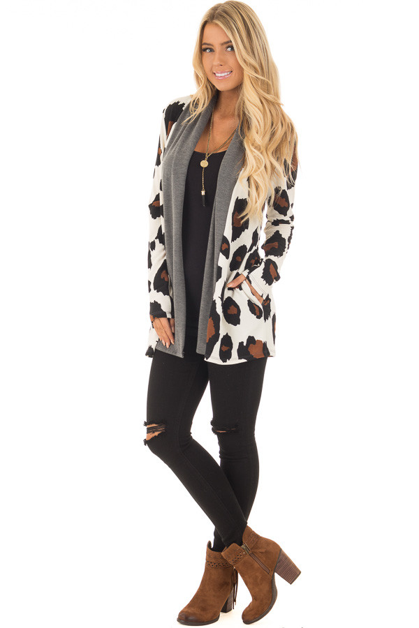 Cream Leopard Print Cardigan with Charcoal Edges front full body