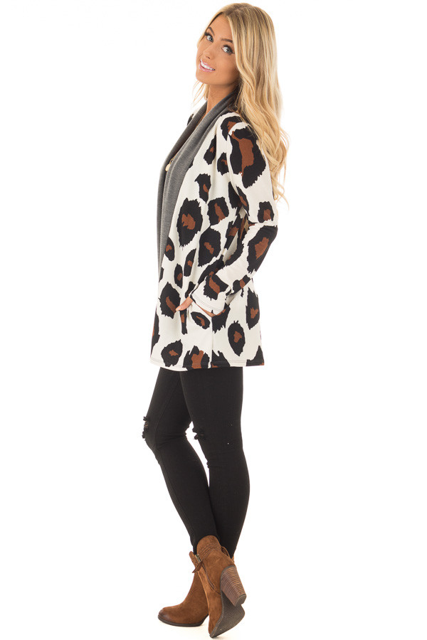 Cream Leopard Print Cardigan with Charcoal Edges side full body