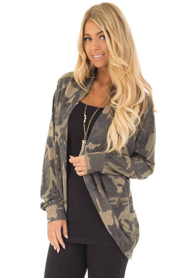 Camo Print Cardigan with Long Sleeves front close up