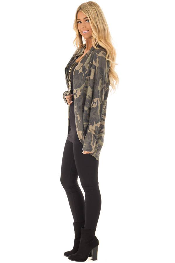 Camo Print Cardigan with Long Sleeves side full body