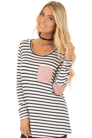 Black and White Striped Top with Mauve Details front close up