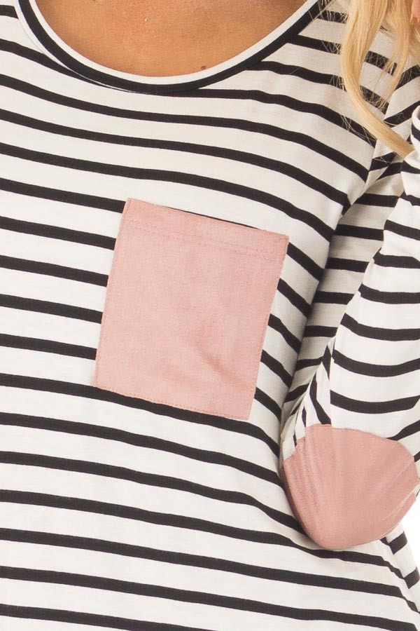 Black and White Striped Top with Mauve Details detail