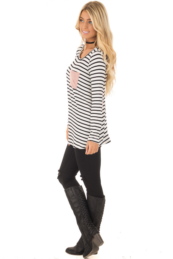 Black and White Striped Top with Mauve Details side full body