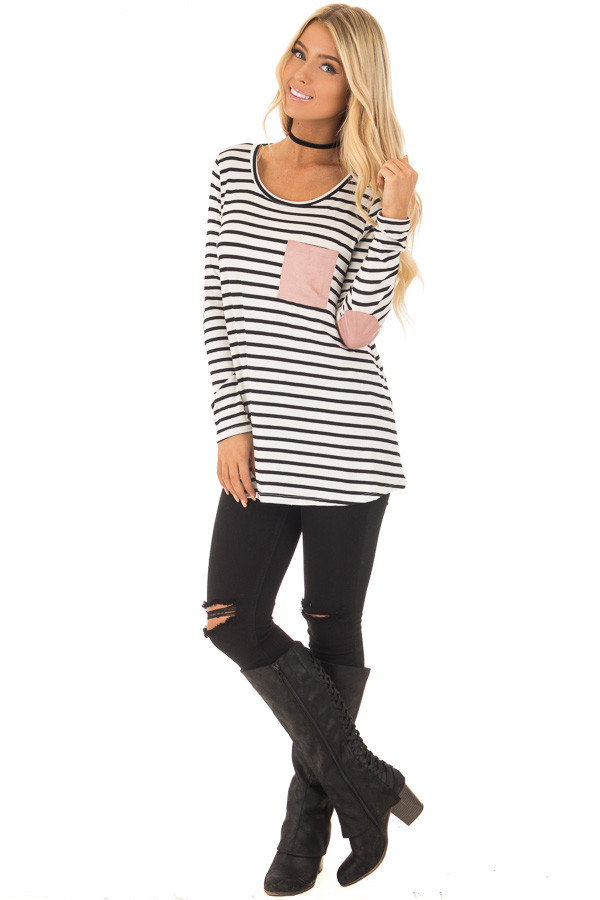 Black and White Striped Top with Mauve Details front full body