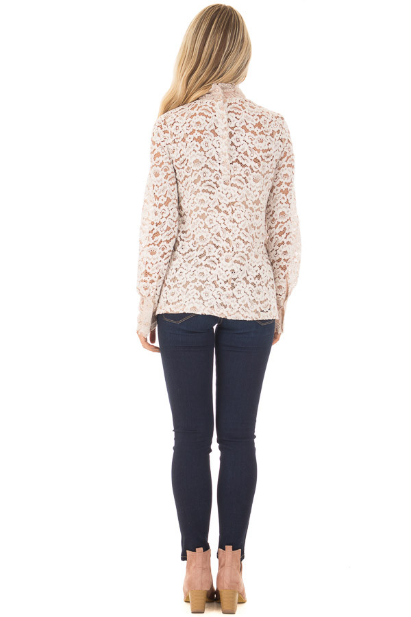 Ivory Floral Lace Up Mock Neck Long Sleeve Top back full body