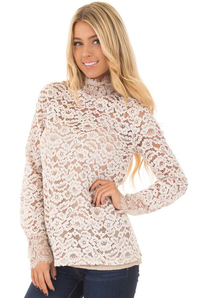 Ivory Floral Lace Up Mock Neck Long Sleeve Top front closeup