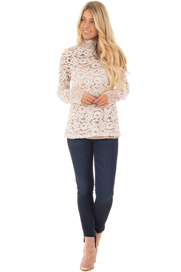 Ivory Floral Lace Up Mock Neck Long Sleeve Top front full body