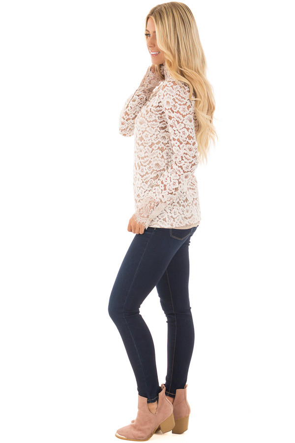 Ivory Floral Lace Up Mock Neck Long Sleeve Top side full body