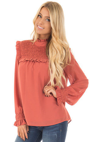 Rust Sheer Blouse with Smocked Yoke and Ruffle Trim front closeup