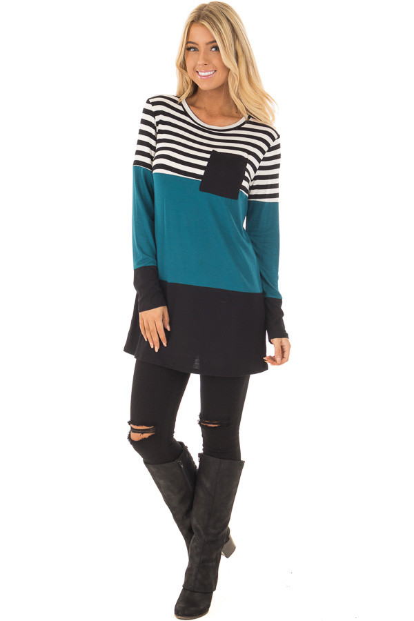 Dark Teal Stripe and Solid Long Sleeve Top with Front Pocket front full body