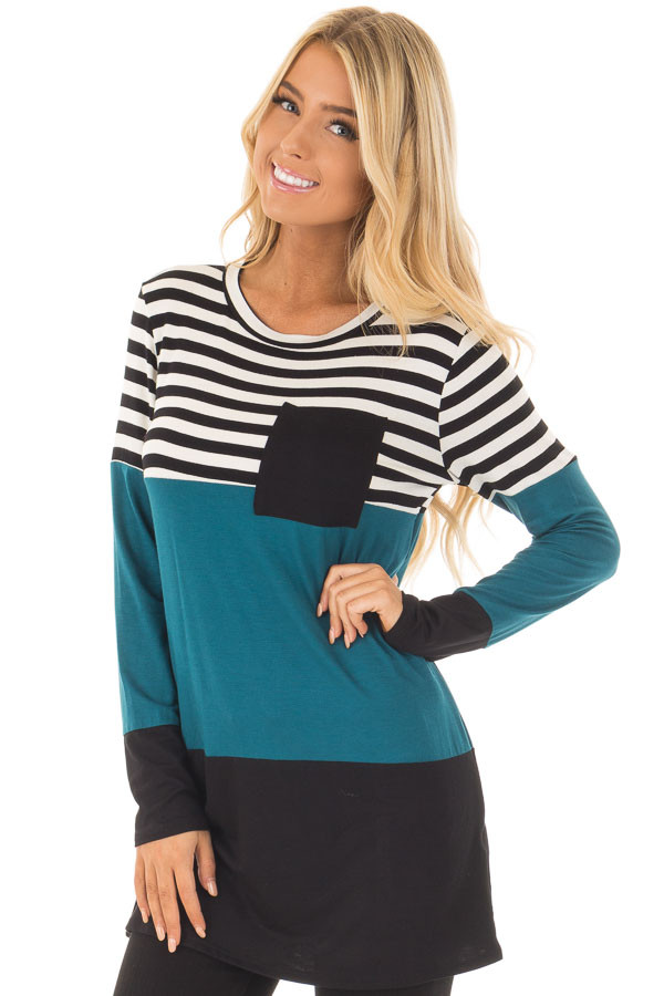 Dark Teal Stripe and Solid Long Sleeve Top with Front Pocket front closeup