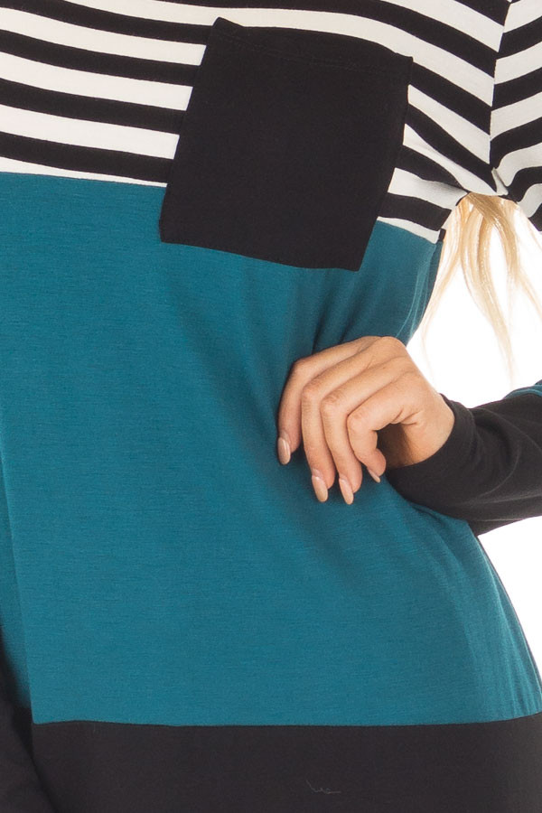 Dark Teal Stripe and Solid Long Sleeve Top with Front Pocket front detail