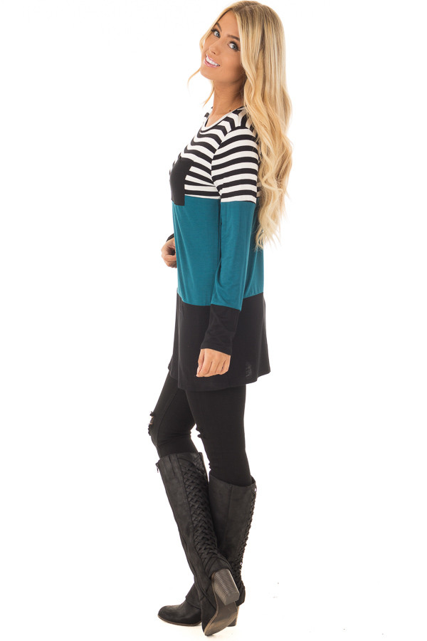 Dark Teal Stripe and Solid Long Sleeve Top with Front Pocket side full body