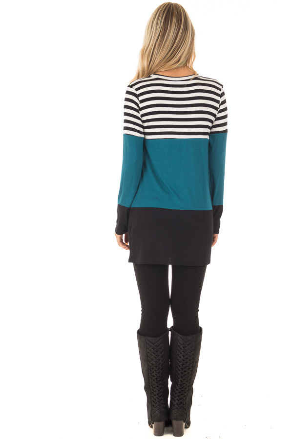 Dark Teal Stripe and Solid Long Sleeve Top with Front Pocket back full body