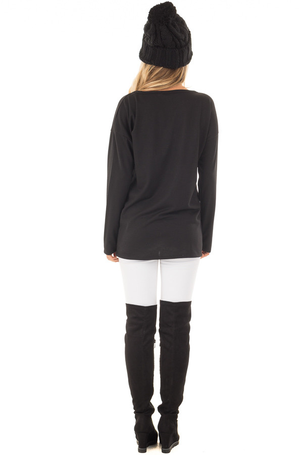 Black Long Sleeve 'Game Day Y'all' Top with Cut Out Neckline back full body