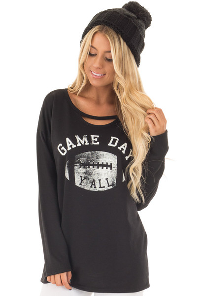 Black Long Sleeve 'Game Day Y'all' Top with Cut Out Neckline front closeup