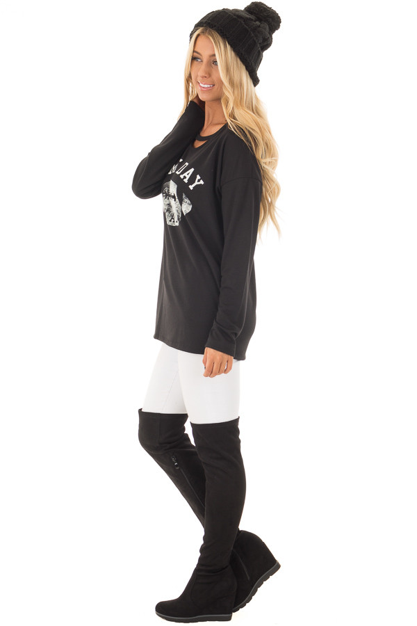 Black Long Sleeve 'Game Day Y'all' Top with Cut Out Neckline side full body