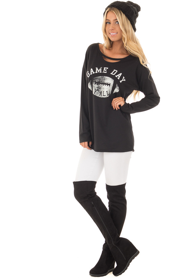 Black Long Sleeve 'Game Day Y'all' Top with Cut Out Neckline front full body