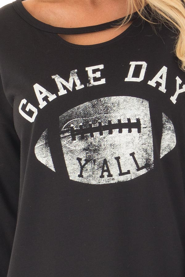 Black Long Sleeve 'Game Day Y'all' Top with Cut Out Neckline front detail