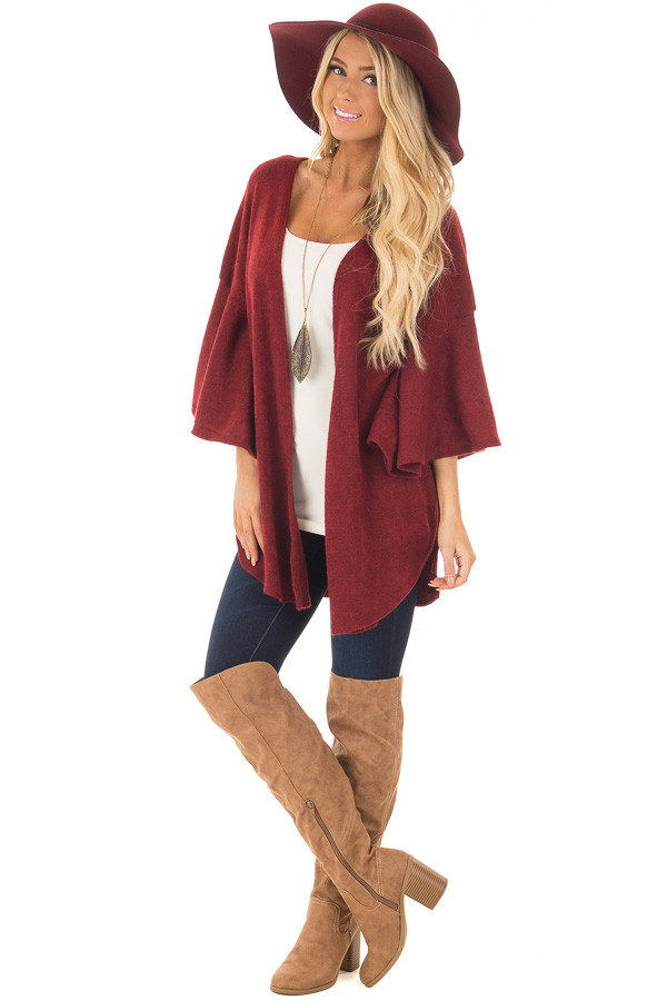 Burgundy Ruffle Short Sleeve Cardigan front full body