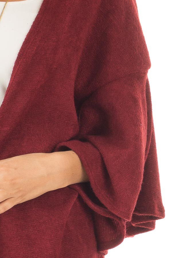 Burgundy Ruffle Short Sleeve Cardigan front detail