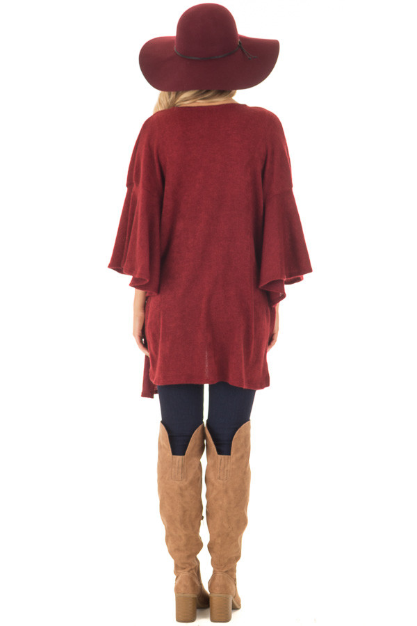 Burgundy Ruffle Short Sleeve Cardigan back full body