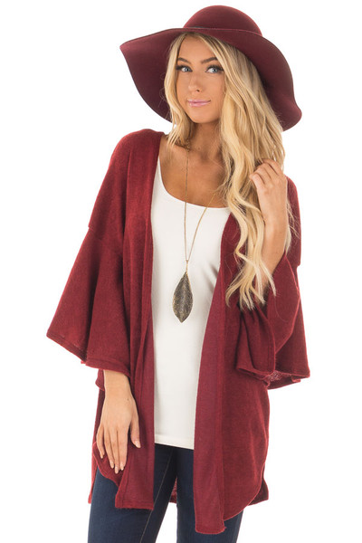 Burgundy Ruffle Short Sleeve Cardigan front closeup