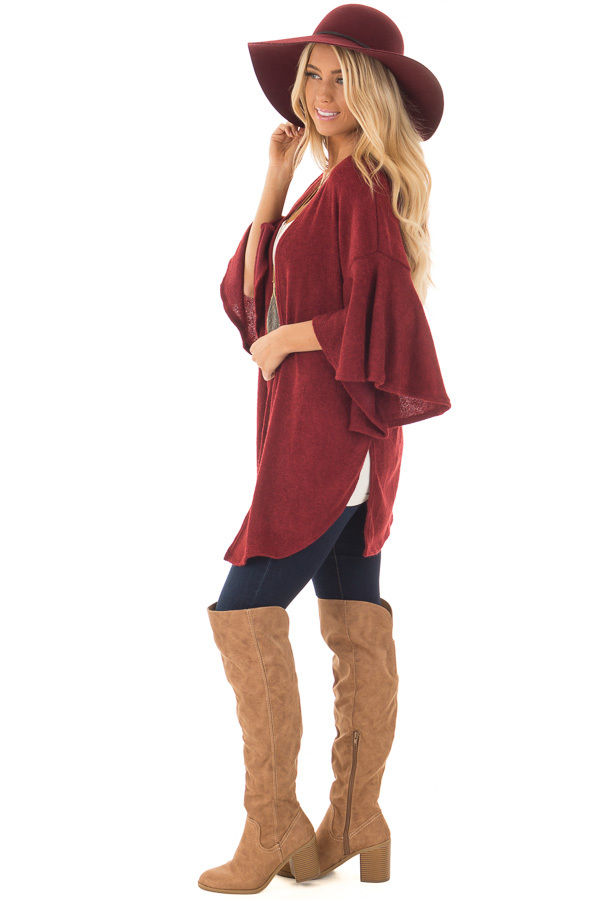 Burgundy Ruffle Short Sleeve Cardigan side full body