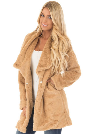 Camel Luxuriously Soft Faux Fur Jacket front closeup