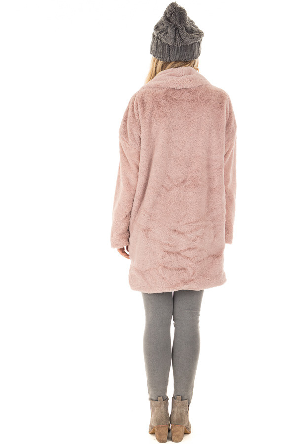 Dusty Pink Luxuriously Soft Faux Fur Jacket back full body