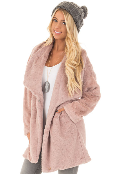 Dusty Pink Luxuriously Soft Faux Fur Jacket front closeup