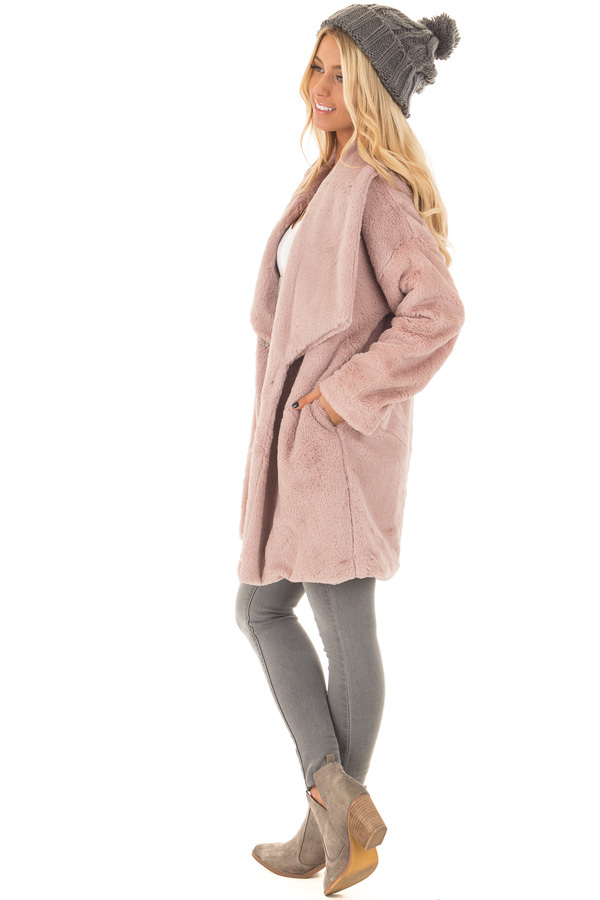 Dusty Pink Luxuriously Soft Faux Fur Jacket side full body