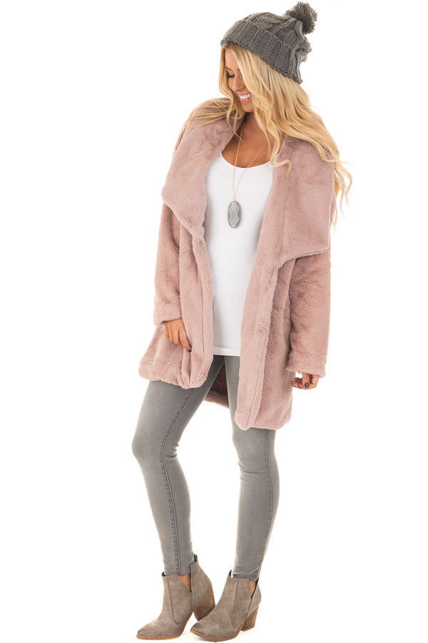 Dusty Pink Luxuriously Soft Faux Fur Jacket front full body