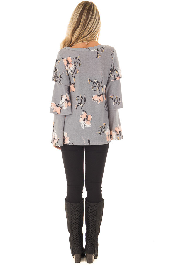 Steel Grey Soft Floral Layered Bell Sleeve Top back full body