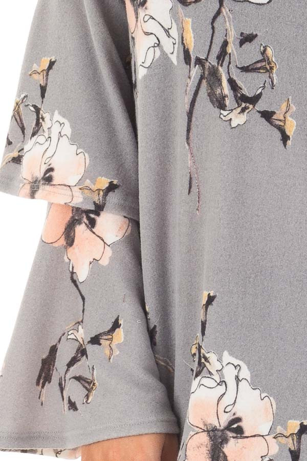 Steel Grey Soft Floral Layered Bell Sleeve Top front detail